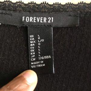 Forever 21 Tops - Forever 21 Black V-neck Ribbed Bodysuit Sz Large